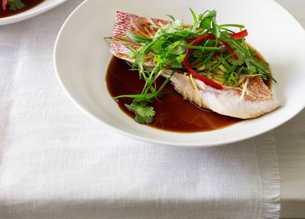 Steamed snapper with ginger, soy and sesame