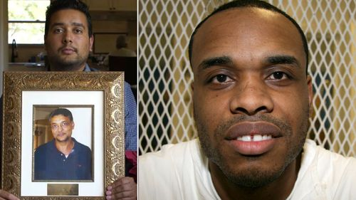 Mitesh Patel, holding a photo of his father 'Hash' who was killed by Chris Young, right. (Photos: AP/Facebook).