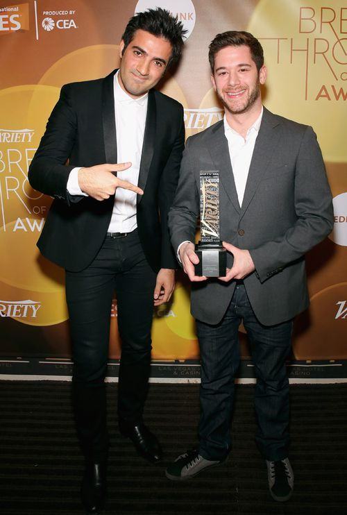 Vine founders Rus Yusupov and Colin Kroll (right) pose with the Breakthrough Award for Emerging Technology at the Variety Breakthrough of the Year Awards at The Las Vegas Hotel & Casino.