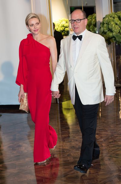 Princess Charlene in Valentino at the 67th Monaco Red Cross Gala in Monte-Carlo in July, 2015