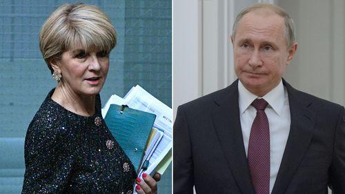 Julie Bishop Julie Bishop grabbed a chance to deliver Australia's official protest to Vladimir Putin.