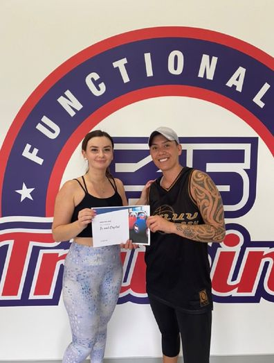 Te Crystal F45 challenge with sign