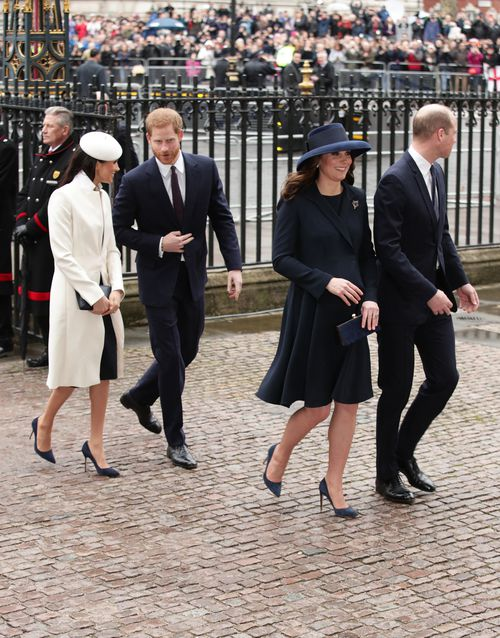 Meghan and Harry arrive with the Duke and Duchess of Cambridge. (PA/AAP)