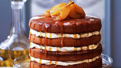 <strong>Brown sugar sponge cake with caramel pears</strong>