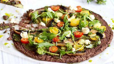 "Recipe: <a href=""http://kitchen.nine.com.au/2016/08/04/12/10/native-vegan-black-bean-crust-pizza"" target=""_top"">Sally O'Neil's vegan black bean crust pizza</a>"