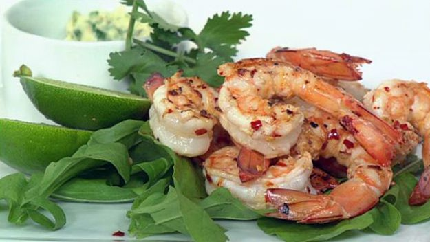 Spicy prawns with wasabi and coriander mayonnaise