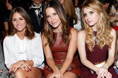 Olivia Palermo, Sophia Bush and Emma Roberts at New York Fashion Week.