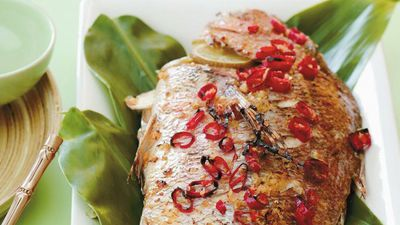 """Recipe: <a href=""""http://kitchen.nine.com.au/2016/05/17/18/40/ginger-and-chilli-baked-fish"""" target=""""_top"""">Ginger and chilli baked fish</a>"""