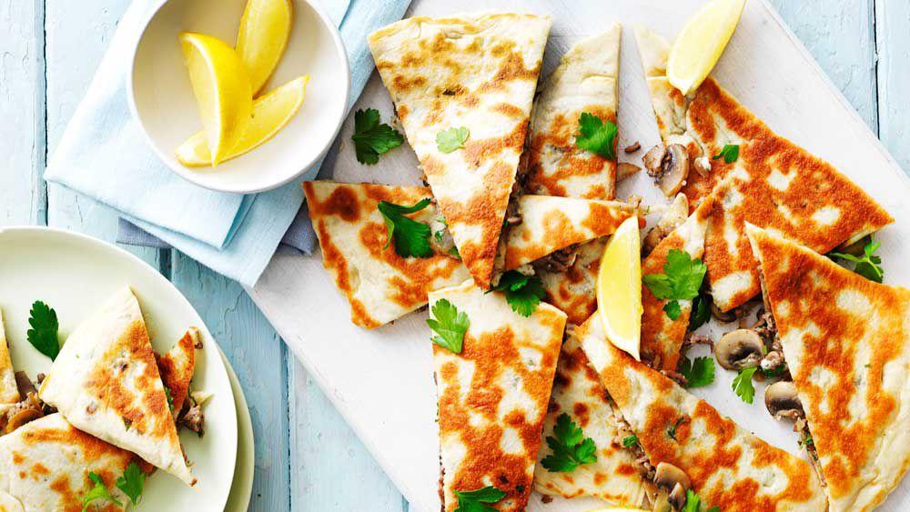 Mushroom, lamb and feta gozleme recipe