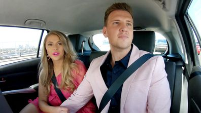 MAFS 2021 Georgia Liam on way to dinner party