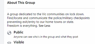 The group description read its 'dedicated' to the Victorian communities in lockdown.