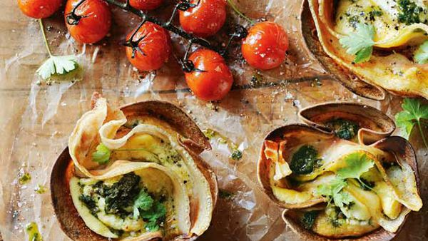Pancetta, ricotta and kale frittata cups