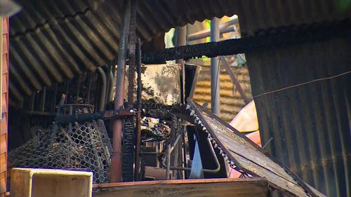 30 metre flames could be seen coming from the roof of the sheds. Picture: 9NEWS
