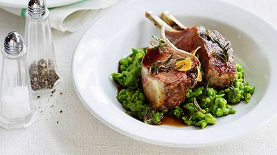 Roast lamb racks with mashed peas