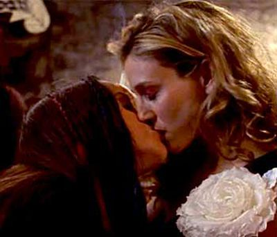 <B>The kiss:</B> Carrie Bradshaw (Sarah Jessica Parker) struggled with the idea of her new boyfriend being bisexual in this season three ep, then somehow ended up locking lips with Dawn (Alanis Morisette) in one of TV's all-time most awkward smooches.<br/><br/><B>Tacky or touching?</B> Tacky. This kiss took place in what was essentially a filler episode, served only a momentary plot purpose, and involved celebrity tonsil hockey. Plus, Alanis later revealed she didn't even enjoy it — ouch.