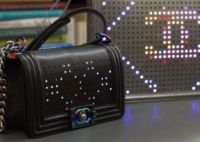 How do you update a classic brand like Chanel? Just add lights. LED lights embedded in the flap make sure that your bling is always bright.