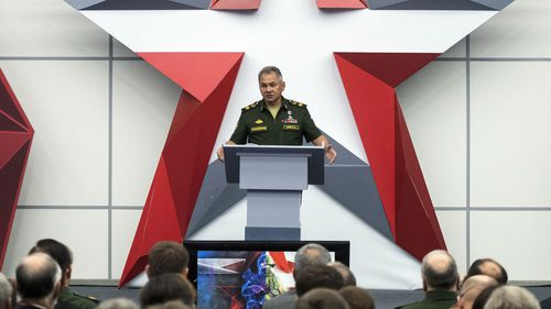Russian Defence Minister Sergei Shoigu speaks during the opening ceremony of the International Military Technical Forum Army-2018 in Alabino, outside Moscow.