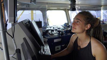 Sea-Watch 3 captain Carola Rackete on board the vessel at sea in the Mediterranean, 20 June 2019