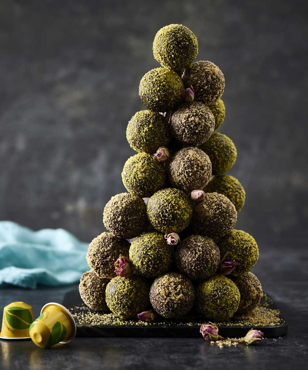 Darren Purchese's cafezinho do Basil brigadeiro (Brazilian coffee truffle tower) for Nespresso