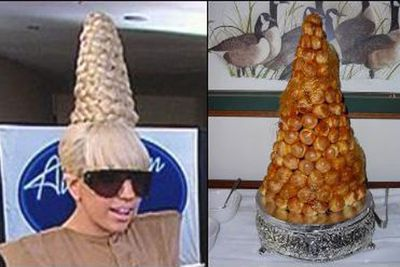 She prefers to wear desserts on her head than eat them. This time, it's famous French sweet, croquembouche. <p><b>Image</b>: totallylookslike.com