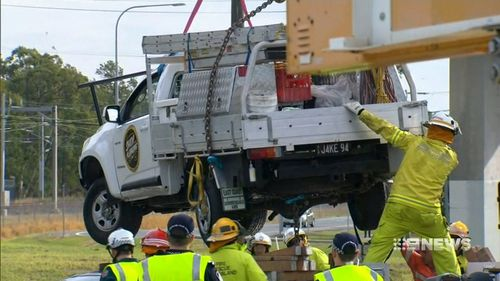 The ute was taken away for an examination. (9NEWS)