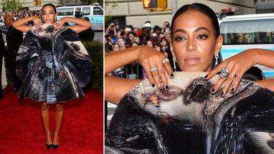 Singer and actress Solange Knowles peeked out from behind a rather unique Giles mini-dress. (AAP)