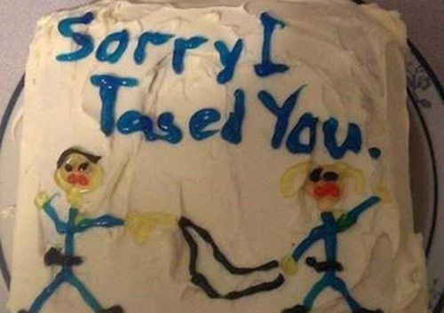 'Sorry I tased you' cake doesn't cut it