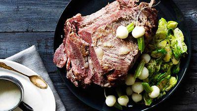 "Recipe: <a href=""http://kitchen.nine.com.au/2016/05/05/15/37/corned-wagyu-brisket-with-buttered-vegetables-and-horseradish-bchamel"" target=""_top"">Corned wagyu brisket with buttered vegetables and horseradish bechamel</a>"