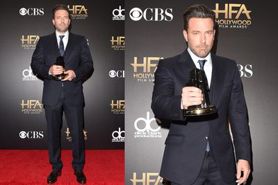 Jen's ex Ben Affleck proudly took home the Hollywood Film gong for <i>Gone Girl</i>.