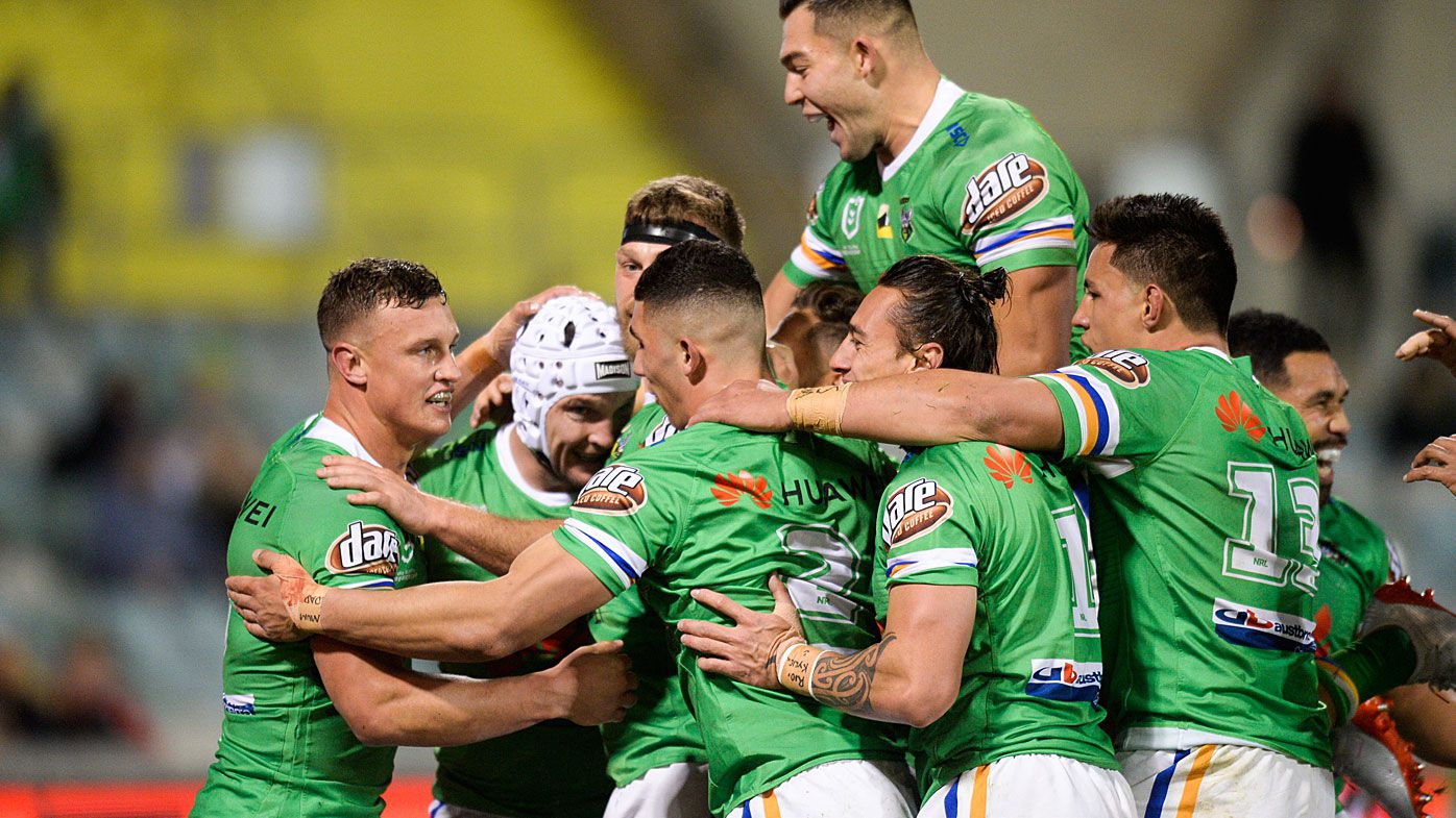 Raiders celebrate a try from Jarrod Crocker