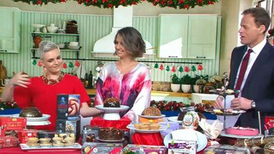 Jane de Graaff, Brooke Boney and Tom Steinfort talk Christmas pudding on Today Show