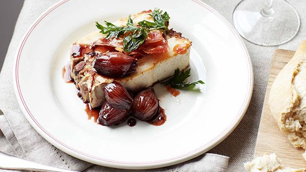Chicken and red wine terrine with braised shallots