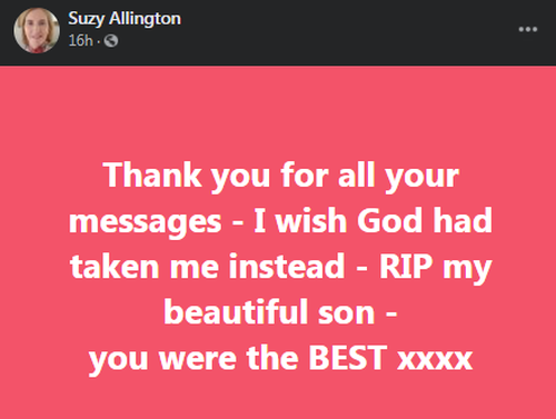 Suzy Allington paid tribute to her son on social media.