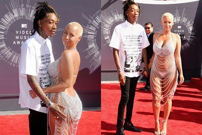 And the Bling and Bare It Award goes to Amber Rose, who rocked a Laura DeWitt chain-link dress and not much else.<br/><br/>The look on rapper husband Wiz Khalifa's face says it all. Watch those wandering hands too.