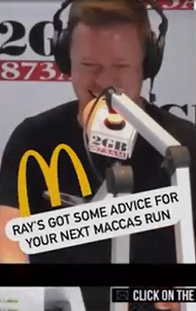 Ben Fordham gets McDonald's ordering advice from Ray Hadley