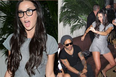 Fifty-year-old Demi Moore put on a show for a clearly-impressed Lenny Kravitz at a Chanel party in Miami.