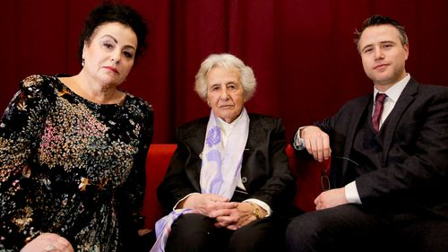 Holocaust survivor Anita Lasker-Wallfisch (centre), her daughter Maya Jacobs Lasker-Wallfisch, and her grandson Simon Wallfisch. Maya and Simon are two of thousands of Jews in Britain who have applied for restoration of German citizenship stripped from their ancestors by the Nazis during the Third Reich.
