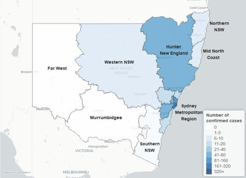 Coronavirus cases across Sydney metropolitan region by local health district