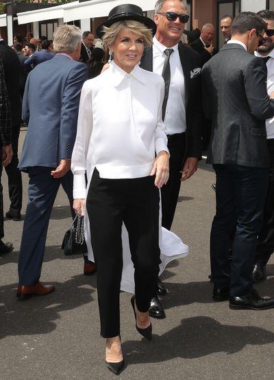 Politician Julie Bishopat Melbourne's Derby Day, 2018