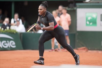 Serena wears her famous catsuit during the 2018 French Open on June 3, 2018.