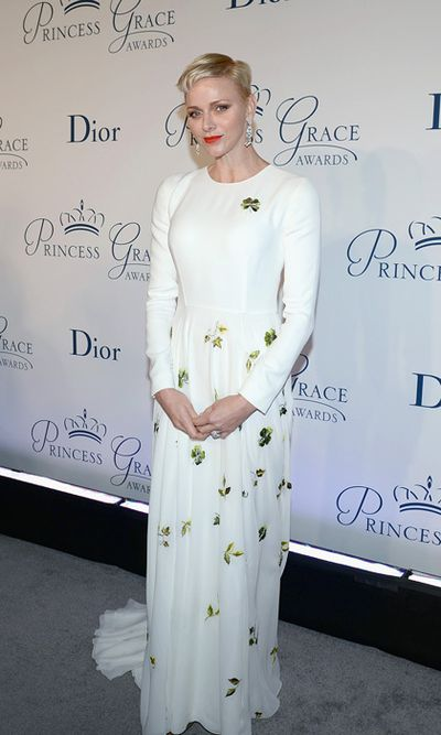 Princess Charlene of Monaco wearing Christian Dior Couture  Princess Grace Awards Gala in New York City in October, 2016