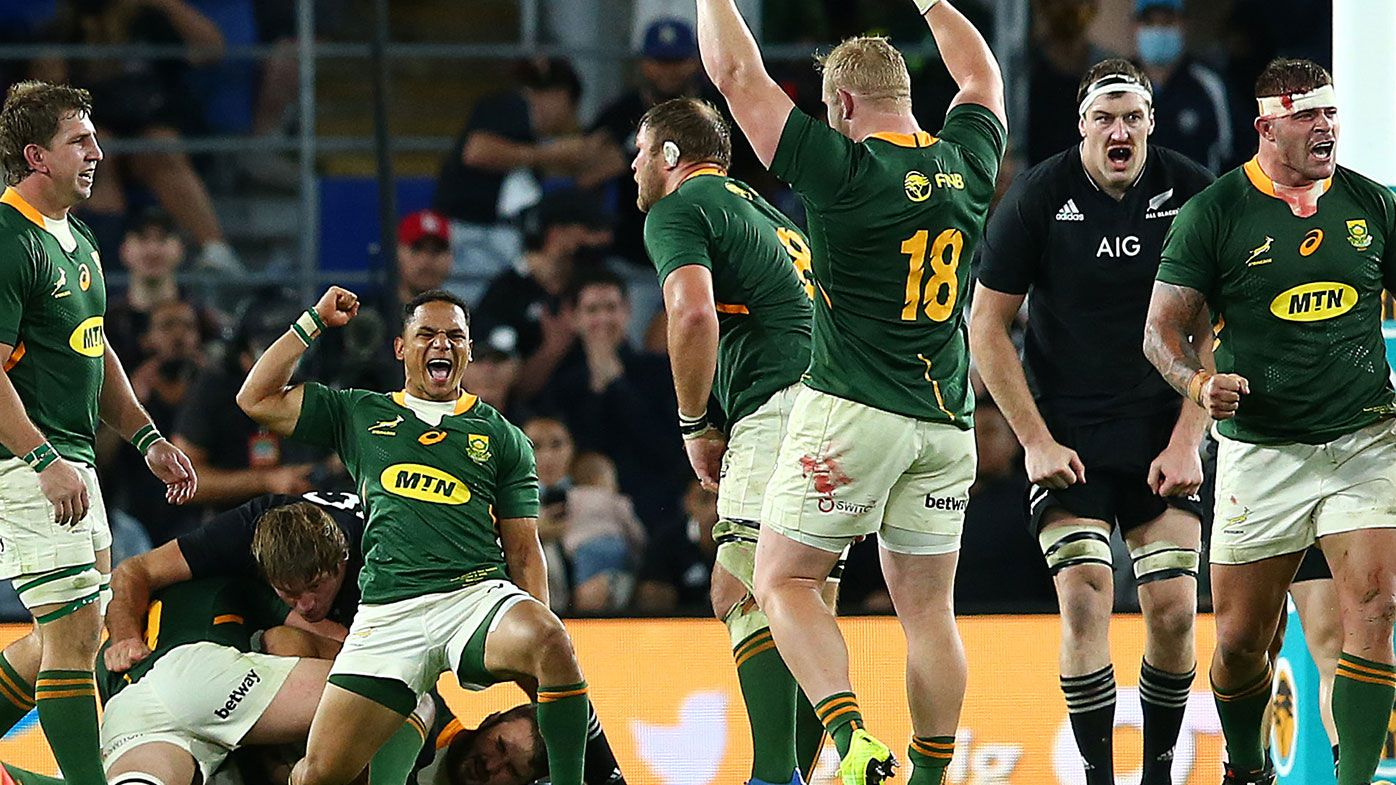 South Africa celebrate winning The Rugby Championship match between the South Africa Springboks and New Zealand All Blacks at Cbus Super Stadium on October 02, 2021 in Gold Coast, Australia. (Photo by Jono Searle/Getty Images)