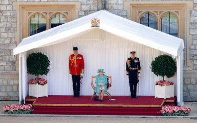 Queen Elizabeth watches the Trooping The Colour parade at Windsor Castle in 2020.