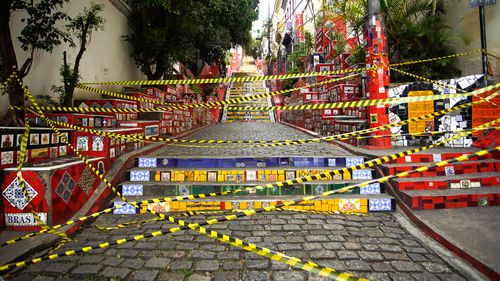 A view of Selaron Steps sealed off during a lockdown aimed at stopping the spread of the coronavirus (COVID-19) pandemic in Rio de Janeiro, Brazil