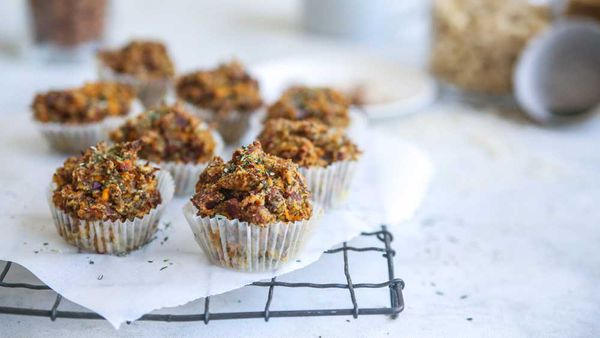 Savoury bacon style pumpkin and almond muffins