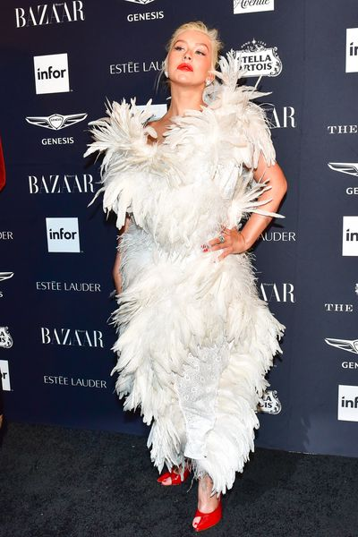 Singer Christina Aguilera, in Vivienne Westwood, at the Harper's Bazaar Icons party in New York, September, 2018