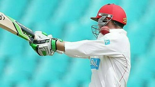 He was struck behind the ear while attempting to hook a bouncer from Sean Abbott. (Supplied)