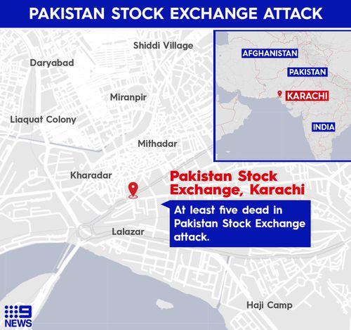 Pakistan Stock Exchange attack map