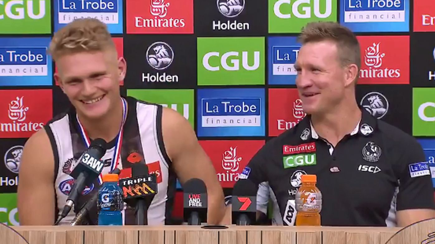 Adam Treloar's hilarious gaffe with Nathan Buckley after winning ANZAC Day