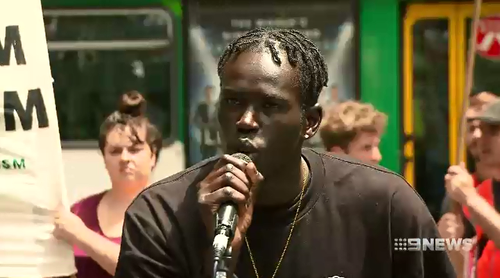 Titan, a protester, spoke with the crowd about his cousins being targeted because of the colour of their skin.